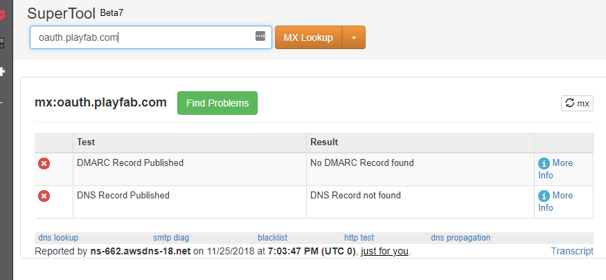 oauth playfab com's server IP address could not be found