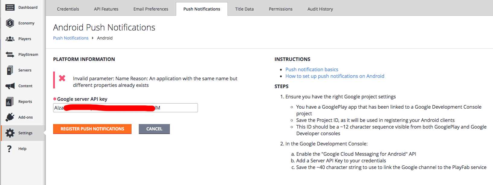 Android Notification setup error - Playfab Community