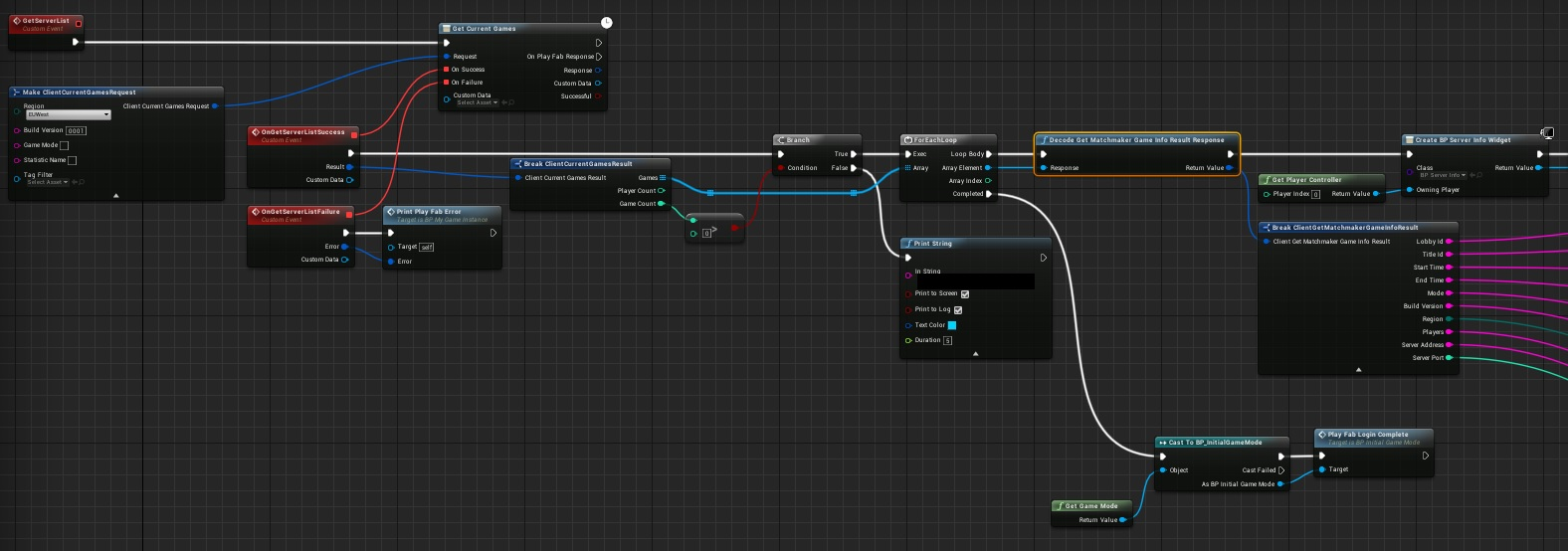 UE4 Blueprint decodeGetMatchmakerGameInfoResult - Playfab